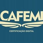 Logo fundo azul cafemi certificação digital